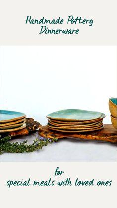 Salad And Dessert Plates, Dinner Sets, Dinnerware Sets, Handmade Pottery, Soup And Salad, Dinner Plates, Stoneware, Meals, Desserts