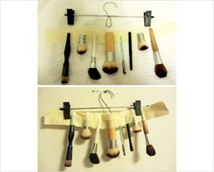 Quick DIY Makeup Brush Drying Method: Masking tape and a skirt/pants hanger with clips. Secure the ends of the wet brushes between two pieces of masking tape then clip the tape onto the hanger.