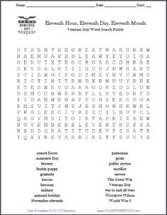 Free Printable Veterans Day Word Search Puzzle for Grades 4-12 (November 11)