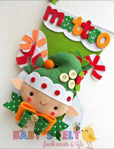 Bota Navideña duende Navidad en fieltro