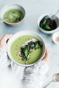 creamy broccoli rabe soup w/ crispy quinoa + yogurt | dolly and oatmeal