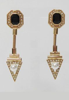 GOLD CRYSTAL & PEARL EARRINGS JUST AT £ 22.00