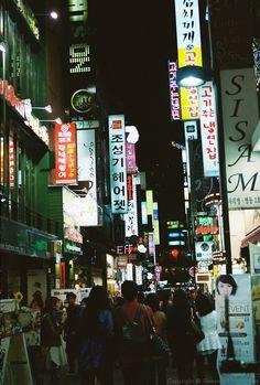 Myeongdong neon lights at night, Seoul #streets #night #southkorea #korea #travel