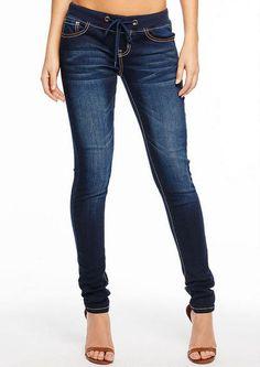 Dark Blue Royal Blue Knit Drawstring Denim Skinny Jeans @ Alloy $40