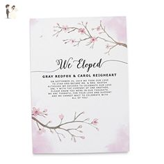 """""""Spring Elopement"""" Elopement Wedding Announcement Cards - Marriage Reception Invitation - We Eloped Party Invites - Custom, Personalized, Unique Card Stock - Sakura Cherry Blossom Theme Design - Save the dates cards (*Amazon Partner-Link)"""