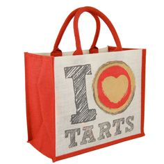 Medium Jute shopper with 'I love tarts' logo printed on front and design on back. Designed in-house to be sold rather than given away, this quality jute shopping bag is the perfect impulse purchase when sold at the till. £1.99