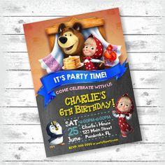 Masha and the Bear Invitation Masha e Orso Masha by PartyGiraffe