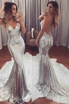 sparkle mermaid prom party dresses, chic fashion evening gowns backless, sexy v-neck fashion formal gowns.