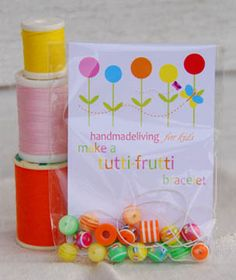 very cute birthday party favor - diy bracelet    Wonder where you can find colorful and fun beads?  If so let me know.  :) thanks