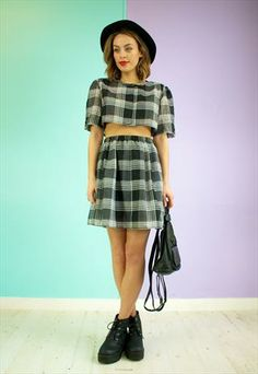 Two Piece Skirt Twin | Co-ord Black Plaid
