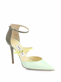 Jimmy Choo Typhoon Bicolor Leather Ankle-Strap Pumps