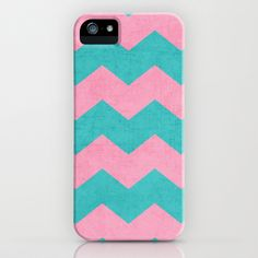 chevron - pink and aqua iPhone & iPod Case by her art - $35.00