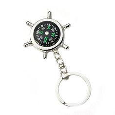 Mini Outdoor 4 In1 Survival Whistle Compass Magnifying Thermometer Keychain PB