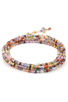"Anne Sportun 34"" Multi-Coloured CZ Bead Wrap 