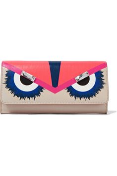 FENDI Crayons Crystal-Embellished Textured-Leather Continental Wallet. #fendi #bags #crystal #leather #accessory #shoulder bags #wallet #rayon