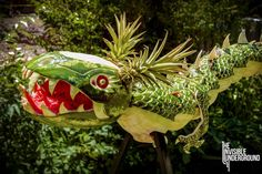 dragon food sculpture 1 Dragon Sculpture Made out of 14 Large Watermelons