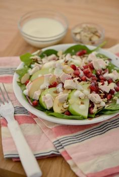 Apple Green Salad  with Honey Lemon Vanilla Yoghurt Dressing.  Make the perfect 3-ingredient dressing with @MtnHighYoghurt for your salads.  Here, we highlighted the produce of the season for a festive holiday treat.   Get the https://www.mountainhighyoghurt.com/creations  and enter for the opportunity to win $500 towards your next holiday meal. #sweepstakes  #mountainhighyoghurt