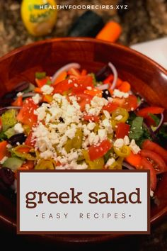 The traditional Greek salad recipe; healthy, simple and absolutely delicious! Find out how to make this Horiatiki (Xoriatiki) salad the traditional Greek way with this authentic recipe. Greek Yogurt Salad Dressing, Greek Chicken Salad, Greek Quinoa Salad, Greek Salad Pasta, Greek Salad Recipe Authentic, Easy Greek Salad Recipe, Greek Salad Recipes, Healthy Salad Recipes, Greek Salad Calories