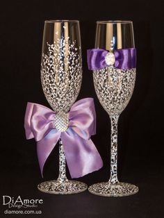 luxury White & purple Wedding glasses from the by DiAmoreDS