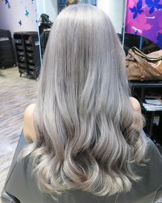 "SALON VIM SINGAPORE on Instagram: ""Grey hair goes glam  with a touch of violet by leading stylist @priscillia_loo at #salonvim bugis! How light would you go for the #grannyhair trend? #hair #colorinspiration #olaplex"""