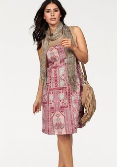 Apart Sommerkleid Plus Size mit Wildlederimitatpasse und Ethnodruck, bunt