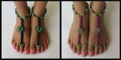 Tutorial How to attach blooms & charms to Rainbow Loom Barefoot Sandals.....