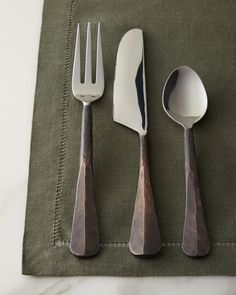 Ridged handles in a burnished-copper finish lend rustic appeal to this #flatware set.