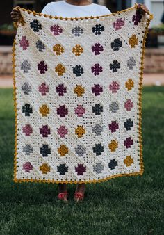 Show your love for classic crochet style when you make the Sweet Granny Baby Blanket. This twist on the classic granny square brings a modern flair to your heirloom crochet afghan. Crochet Square Patterns, Crochet Motifs, Crochet Blanket Patterns, Crochet Blankets, Crochet Ideas, Crochet Style, Modern Crochet Blanket, Baby Girl Crochet Blanket, Scrap Yarn Crochet