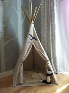 DIY play tent: 5-6' dowels & a painters drop cloth. NEED to make this for my kids someday!