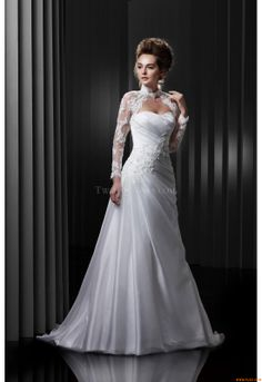 Wedding Dresses Enzoani BT13-5 Beautiful 2013 - swoop high on the hip.  shoulder cover up...then remove.