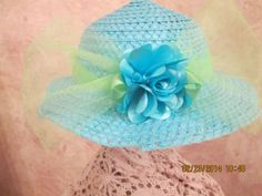 Girls Easter Hat  Turquoise and Lime Hat by IsabellasHatsandBows, $17.99