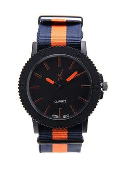 Navy/orange watch strap and hands