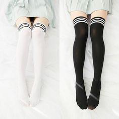 Striped casual school thigh high tights socks in 201 Kawaii Fashion, Cute Fashion, Skirt Fashion, Fashion Outfits, Fashion Styles, Thigh High Tights, Thigh Highs, Pretty Outfits, Cool Outfits