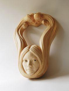 Beautiful wood sculpture by Yasuhiro Sakurai Sculpture Head, Wood Sculpture, Ceramic Mask, Tree Carving, Wooden Hearts, Figurative Art, Wood Art, Sculpting, Art Pieces