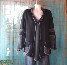 Upcycled Merino Wool Sweater Tunic, Recycled Sweaters, Black and Gray Color Block, Size Large/XL