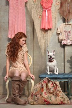 redheads, dogs, boots, bags