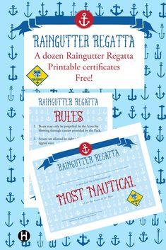 * Cub Scout Raingutter Regatta printable certificates