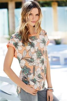 Buy Coral Printed Boxy T-Shirt from the Next UK online shop