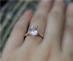 Larger Oval 8x10mm Natural Pink Morganite Ring Solid by NidaRings