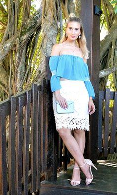 off shoulder top crochet skirt