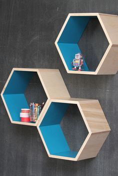 Turquoise Honeycomb shelves