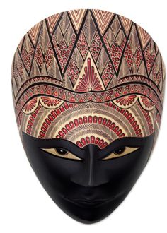 Hely and Endang Javanese Wood Batik Mask with Peacock Crown Wall Decor