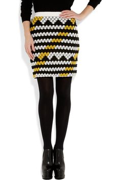 KENZO|Bubble-knit wool-blend mini skirt|