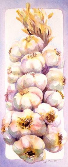 still life garlic strand watercolour web Garlic Strand. Lucinda Hayes