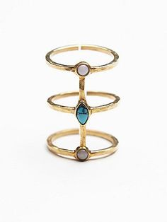 Bali Caged Ring | Artisan three-band cage ring with semiprecious hammered metals and center stones.  *By Ono Jewelry