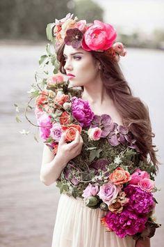 Flowers in her hair....flowers everywhere!.