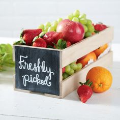 """Freshly Picked"" Chalkboard Crate""Freshly Picked"" Chalkboard Crate"