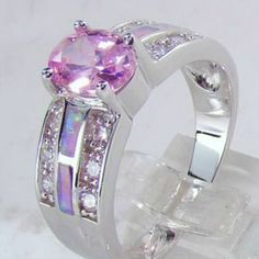Size 5-11 Stunning Created Pink Opal CZ Ring