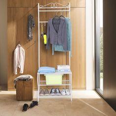 Metal Coat Stand Hanging Clothes Rail Wall Shoe Storage Garment Rack Cabinet UK