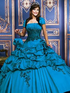 Blue Quinceanera Dresses - Long Dress With Full Tiered Ruffle Skirt